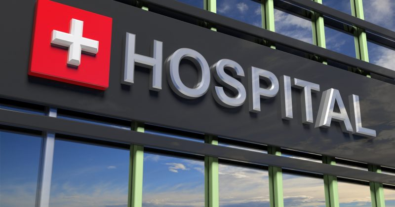 Hospital sign on building