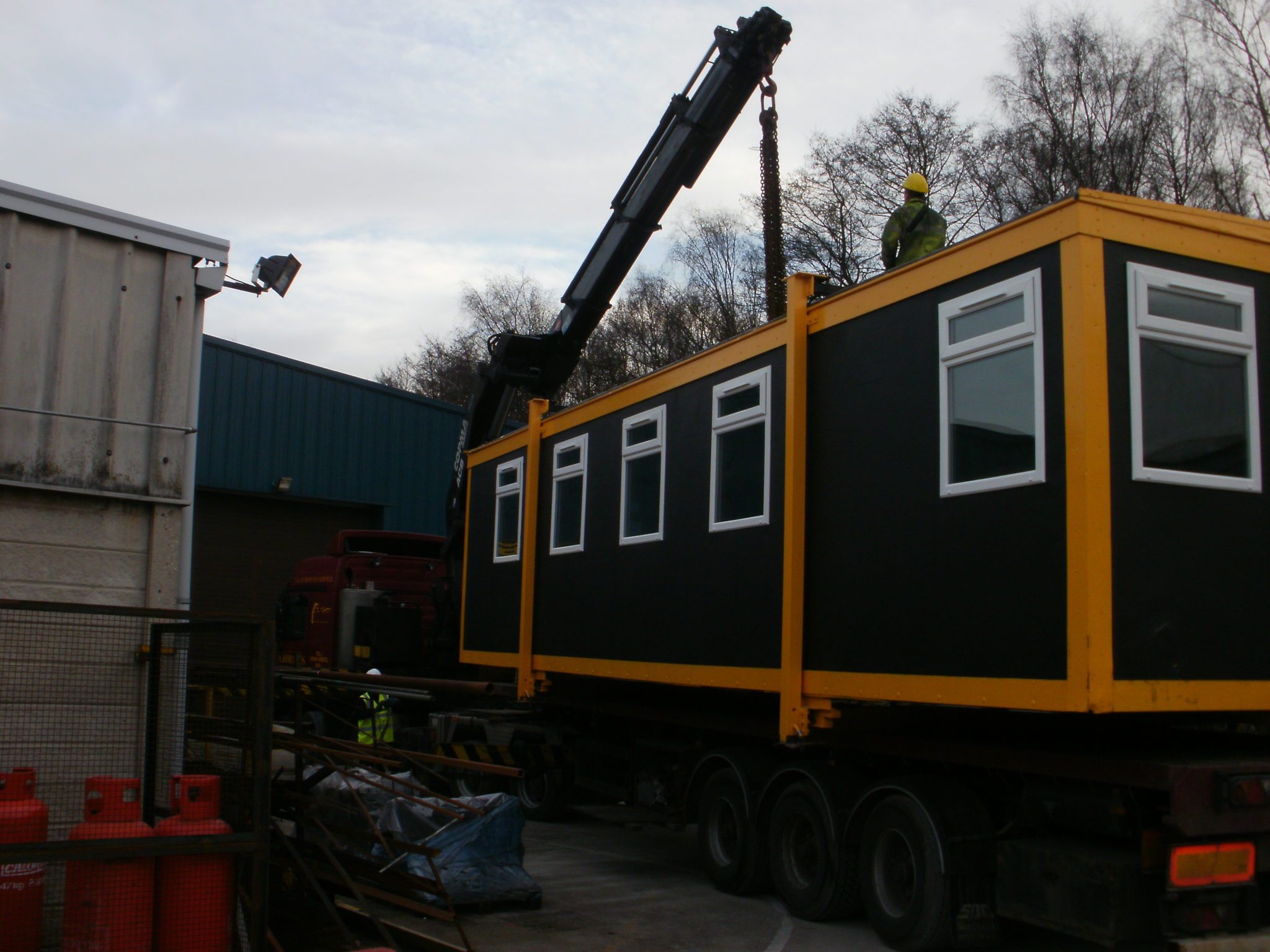 modular building being transported