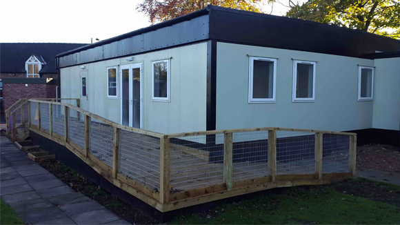 Modular classrooms near a housing estate
