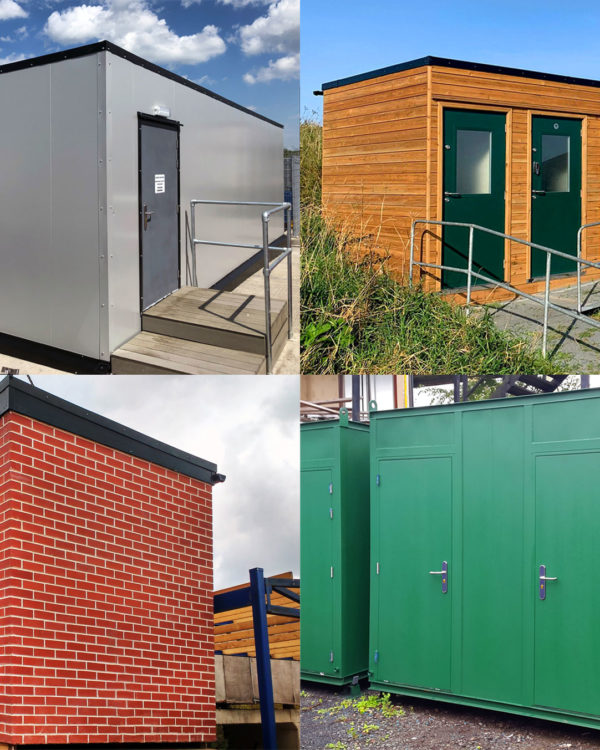 Four portable buildings