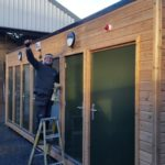 Joiner stood infront of out modular building