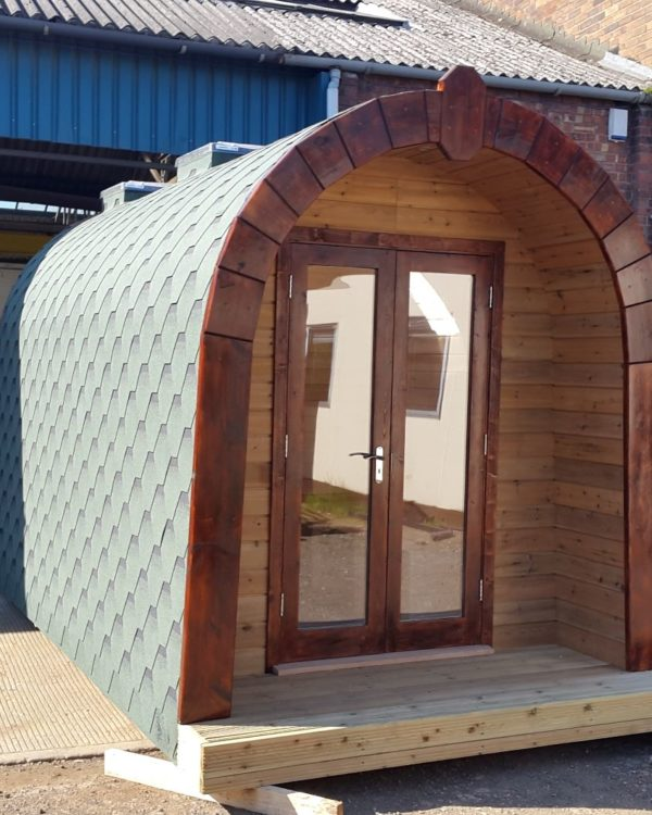 Front of our glamping pod.